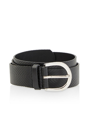 Chevron Embossed Faux Leather Belt,BLACK,large