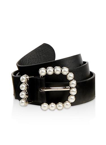 Faux Pearl Buckle Belt,BLACK,large