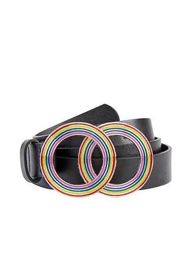 Plus Size Rainbow Circle Buckle Belt,BLACK,large