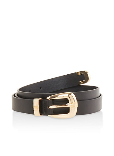 Faux Leather Skinny Belt,BLACK,large