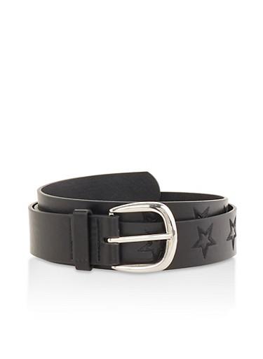 Star Stitched Faux Leather Belt,BLACK,large