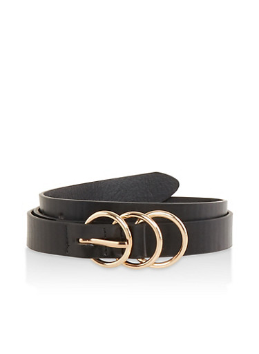 Triple Ring Skinny Belt,BLACK,large