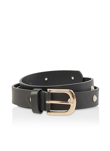Faux Pearl Studded Belt,BLACK,large