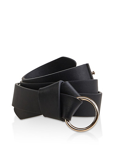 Knotted Faux Leather Belt,BLACK,large