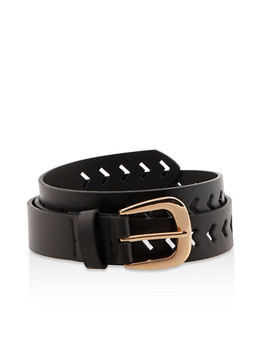 Chevron Laser Cut Faux Leather Belt,BLACK,large
