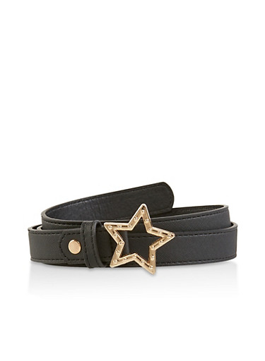 Star Buckle Faux Leather Belt,BLACK,large