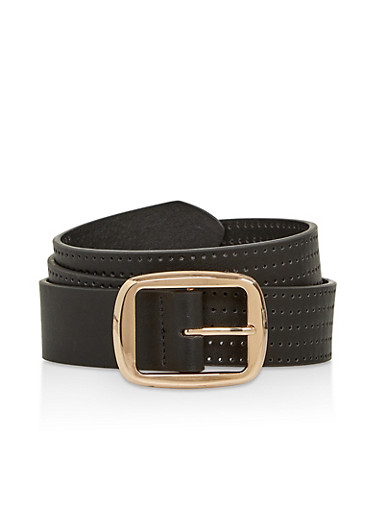 Metallic Buckle Perforated Faux Leather Belt,BLACK,large
