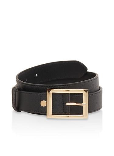 Rectangle Buckle Faux Leather Belt,BLACK,large