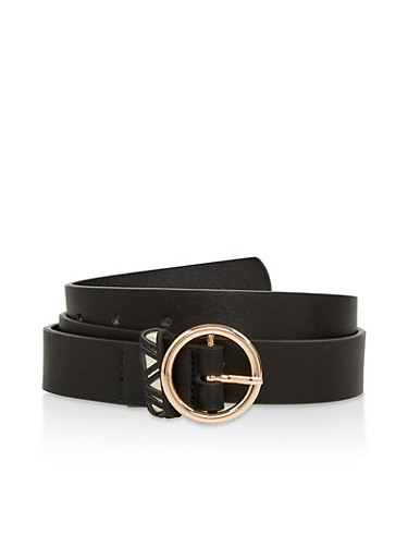 Aztec Loop Faux Leather Belt,BLACK,large