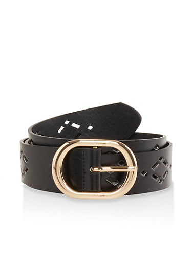 Laser Cut Faux Leather Belt | 1128074500807,BLACK,large