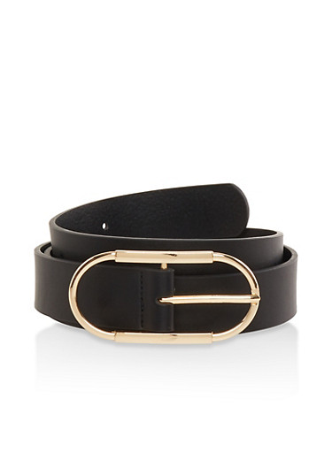 Oval Buckle Faux Leather Belt,BLACK,large