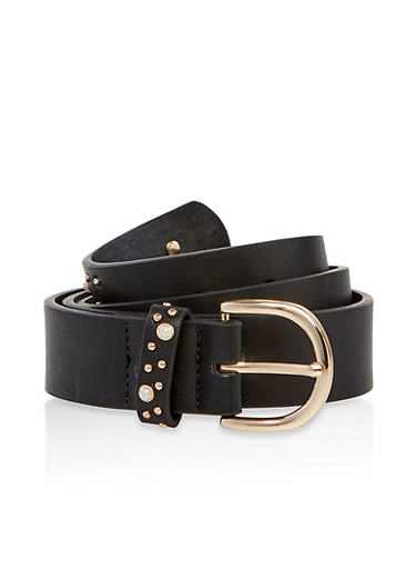 Faux Pearl Studded Detail Belt,BLACK,large