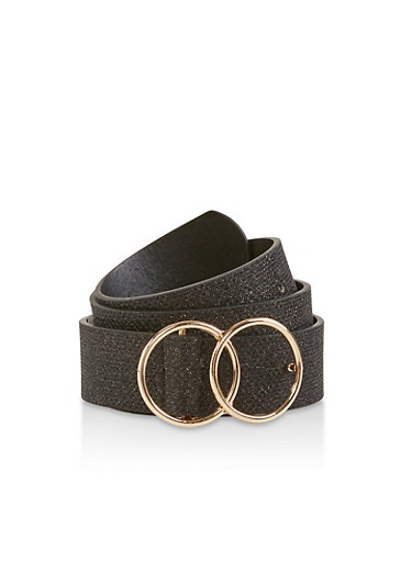 Double O Ring Buckle Glitter Belt,BLACK,large