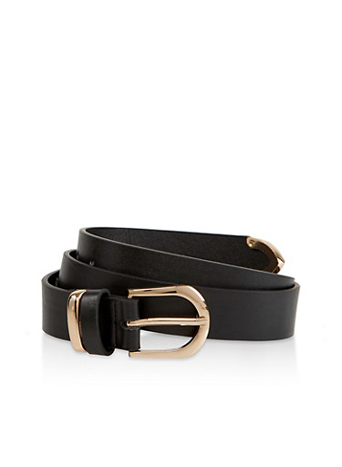 Metallic Detail Faux Leather Belt,BLACK,large