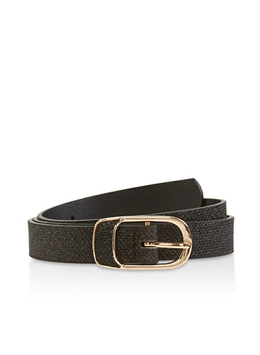 Metallic Buckle Glitter Belt,BLACK,large