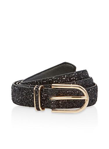 Plus Size Faux Leather Glitter Belt,BLACK,large