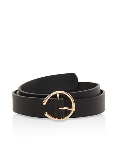 Open Buckle Faux Leather Belt,BLACK,large