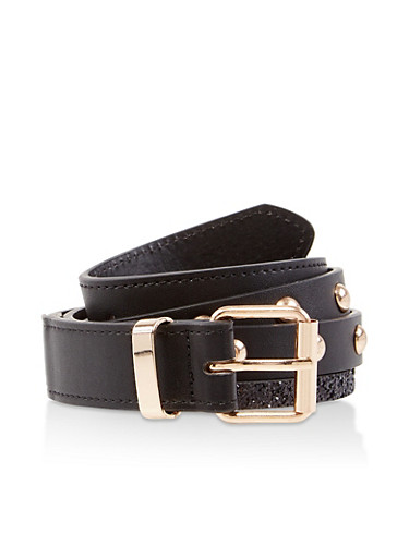 Glitter Trim Studded Belt,BLACK,large