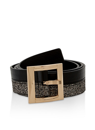 Glitter and Faux Leather Belt,BLACK,large