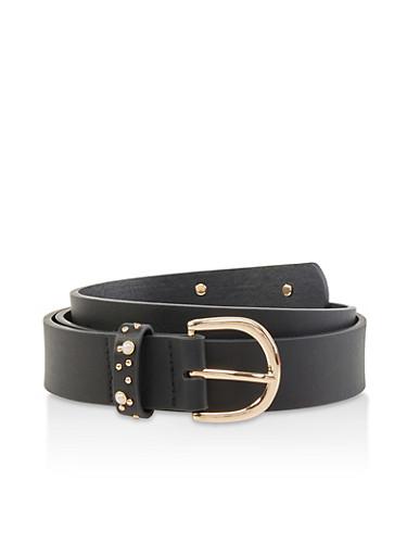 Plus Size Faux Pearl Studded Belt,BLACK,large
