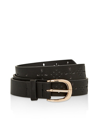 Perforated Floral Faux Leather Belt,BLACK,large