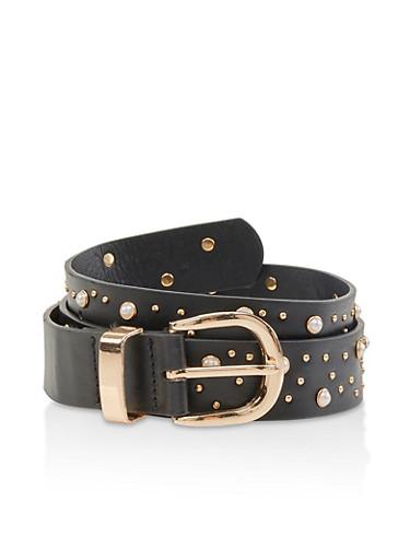 Studded Faux Leather Belt,BLACK,large