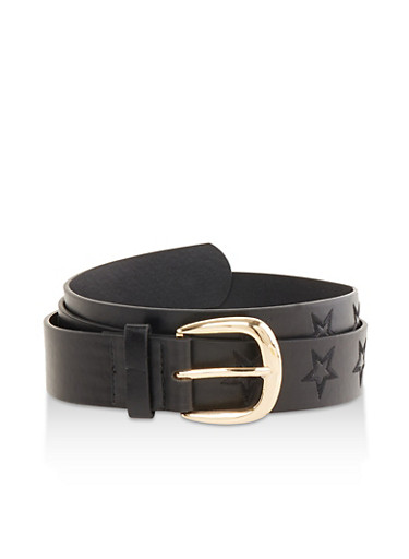 Plus Size Star Embossed Faux Leather Belt,BLACK,large