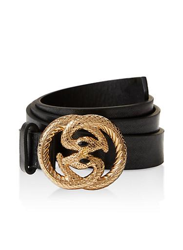 Metallic Double Snake Buckle Belt,BLACK,large