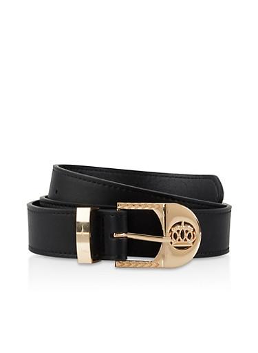 Crown Buckle Faux Leather Belt,BLACK,large