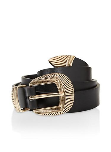 Textured Metallic Faux Leather Belt,BLACK,large