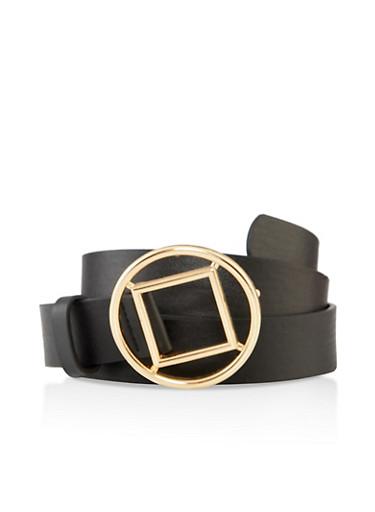 Plus Size Metallic Circular Buckle Belt,BLACK,large