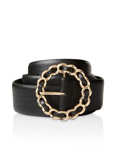 Plus Size Braided Metallic Circle Buckle Belt,BLACK,large