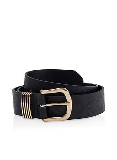 Embossed Faux Leather Belt,BLACK,large