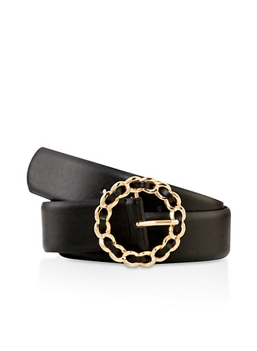 Woven Metallic Buckle Belt,BLACK,large