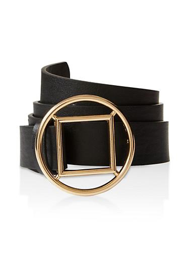Geometric Buckle Faux Leather Belt,BLACK,large
