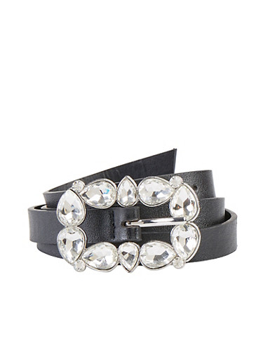 Rhinestone Buckle Skinny Belt | 1128075473039,BLACK,large