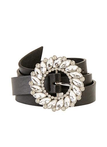 Circular Jeweled Buckle Skinny Belt,BLACK,large