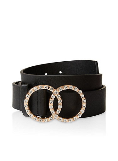 Rhinestone Double Circle Buckle Belt,BLACK,large
