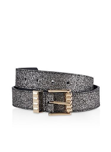 Glitter Metallic Buckle Belt,BLACK,large
