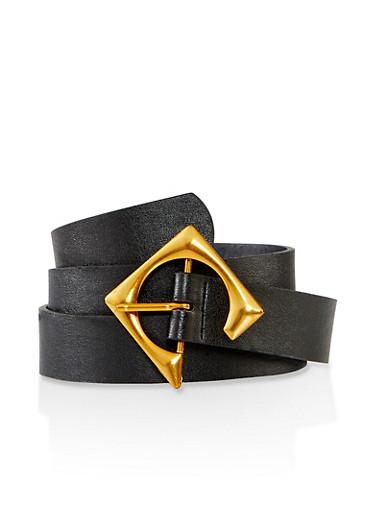 Plus Size Open Geometric Buckle Belt,BLACK,large