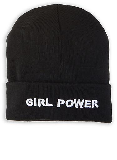 Girl Power Beanie,BLACK,large