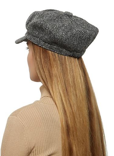 Tweed Newsboy Cap,GRAY,large