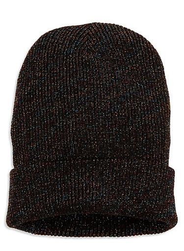 Ribbed Knit Beanie,BLACK,large