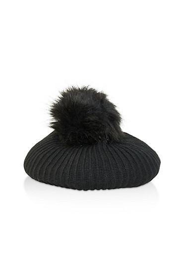 Pom Pom Knit Beret,BLACK,large