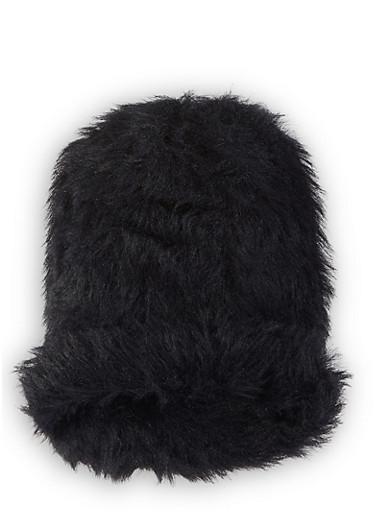Faux Fur Beanie,BLACK,large