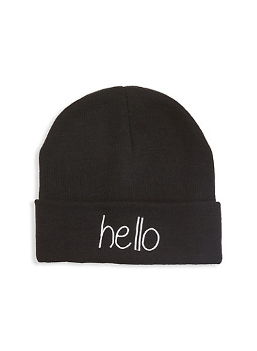 Hello Embroidered Beanie,BLACK,large