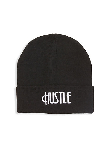 Hustle Embroidered Beanie,BLACK,large