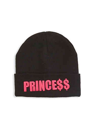 Princess Embroidered Beanie,BLACK,large