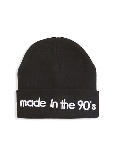 Made in the 90s Embroidered Beanie,BLACK,large