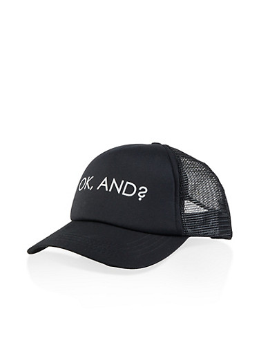 Ok And Graphic Trucker Hat,BLACK,large